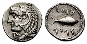 Photo 1: A picture of tuna on the back of a Drachma coin forged in Cadiz around the 3rd century BC. On the front is the Phoenician god Hercules (Melqart).